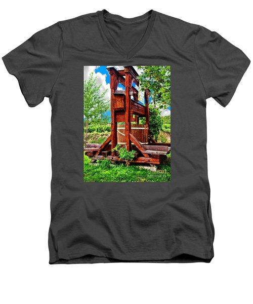 Old Wine Press Men's V-Neck T-Shirt by Mariola Bitner