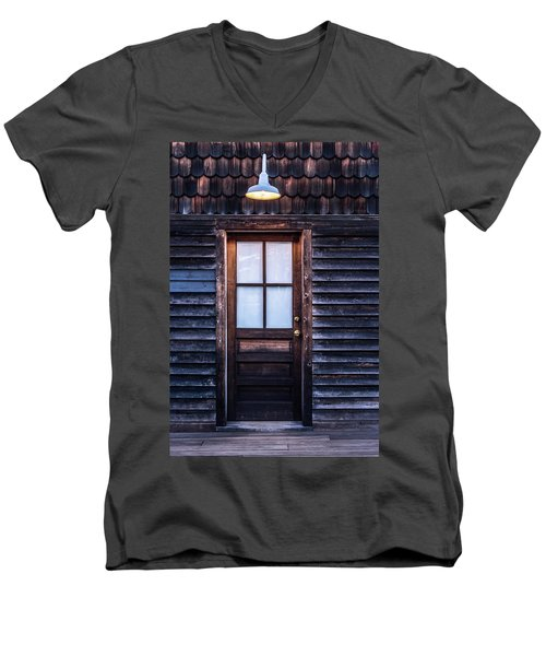 Men's V-Neck T-Shirt featuring the photograph Old Wood Door And Light by Terry DeLuco