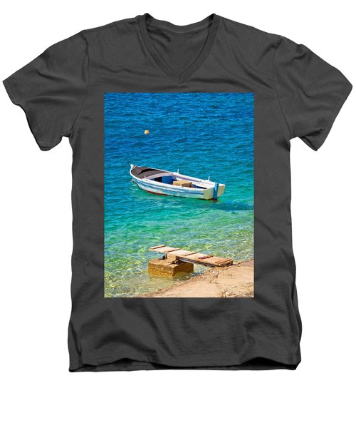 Old Wooden Fishermen Boat On Turquoise Beach Men's V-Neck T-Shirt by Brch Photography
