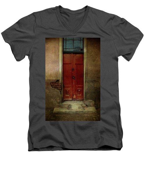 Old Wooden Gate Painted In Red  Men's V-Neck T-Shirt by Jaroslaw Blaminsky