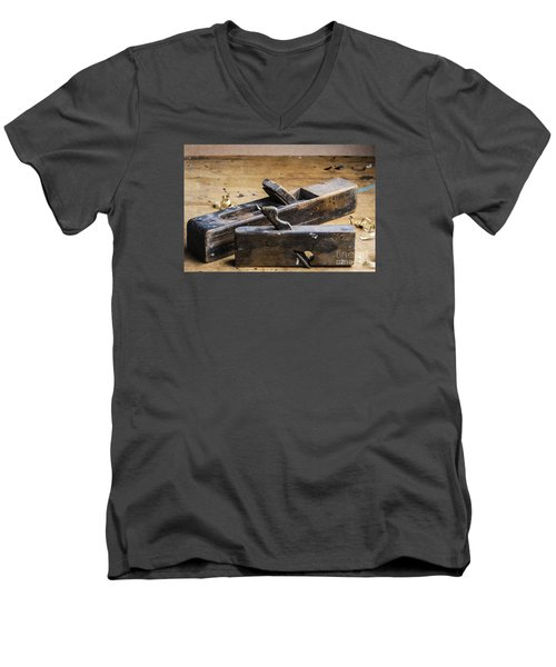 Men's V-Neck T-Shirt featuring the photograph Old Wooden Planes by Trevor Chriss