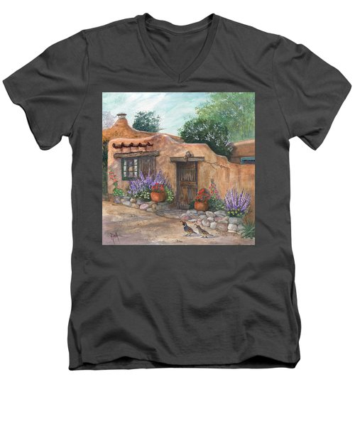 Men's V-Neck T-Shirt featuring the painting Old Adobe Cottage by Marilyn Smith