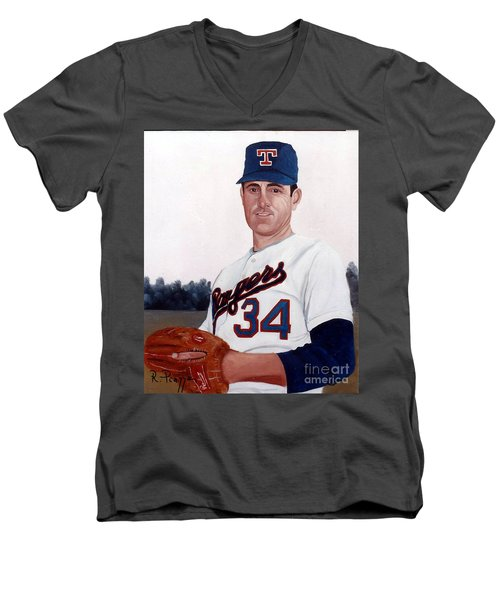 Men's V-Neck T-Shirt featuring the painting Older Nolan Ryan With The Texas Rangers by Rosario Piazza