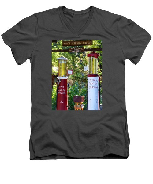 Oldest Dbl. Gravity Gas Pumps 1928 Men's V-Neck T-Shirt by Amelia Racca
