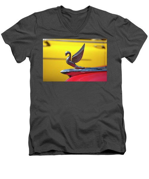 Men's V-Neck T-Shirt featuring the photograph Oldsmobile Packard Hood Ornament Havana Cuba by Charles Harden