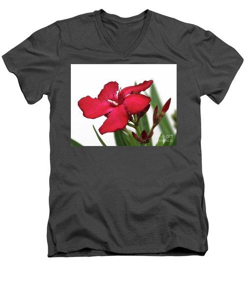 Oleander Blood-red Velvet 2 Men's V-Neck T-Shirt