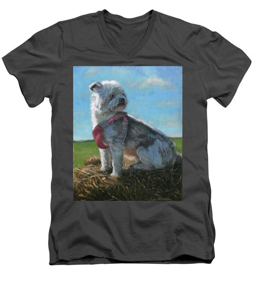 Olive Men's V-Neck T-Shirt