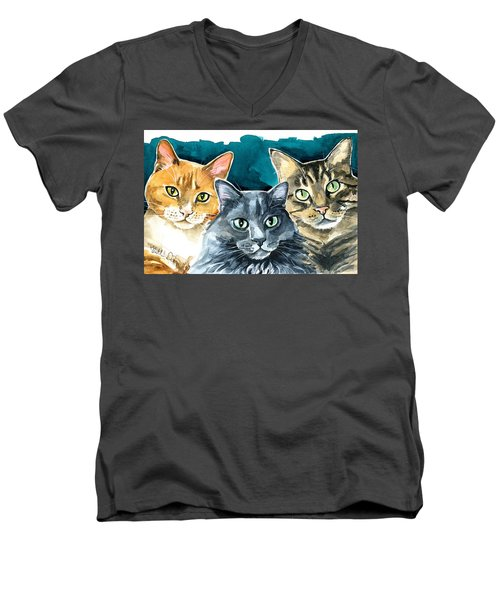Oliver, Willow And Walter - Cat Painting Men's V-Neck T-Shirt