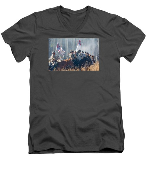 Olustee Confederate Charge Men's V-Neck T-Shirt by Kenneth Albin