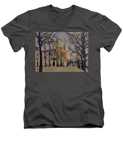 Olv Square On A Sunny Winter Afternoon Men's V-Neck T-Shirt