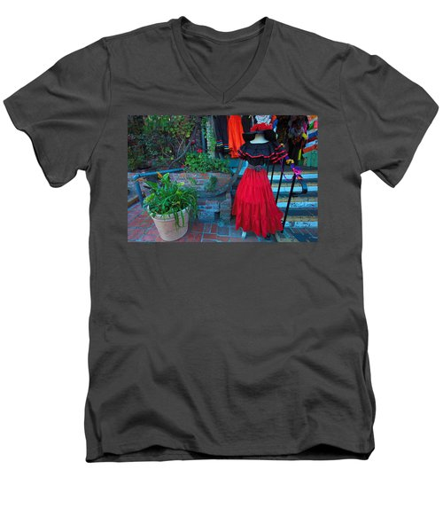 Olvera Street Los Angeles Men's V-Neck T-Shirt by Ram Vasudev