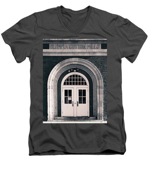 Olympia Cotton Mills Entrance B W 1 Men's V-Neck T-Shirt