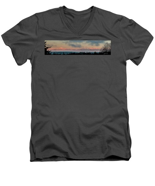 Olympic Mountains At Dawn.1 Men's V-Neck T-Shirt