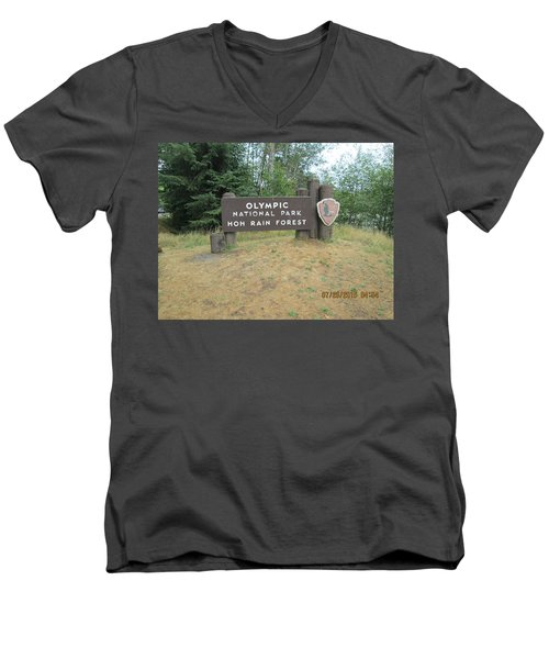Men's V-Neck T-Shirt featuring the photograph Olympic Park Sign by Tony Mathews