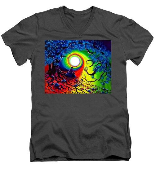 Om Tree Of Life Meditation Men's V-Neck T-Shirt