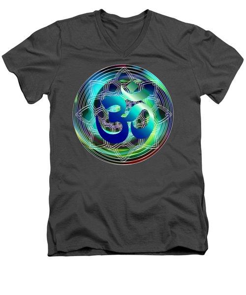 Men's V-Neck T-Shirt featuring the digital art Om Vibration Ocean by Robert G Kernodle