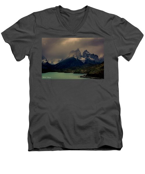 Men's V-Neck T-Shirt featuring the photograph Ominous Peaks by Andrew Matwijec