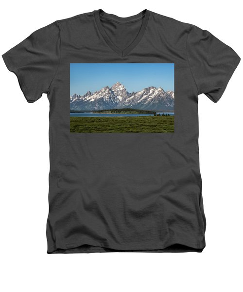 Men's V-Neck T-Shirt featuring the photograph On A Clear Day by Jan Davies