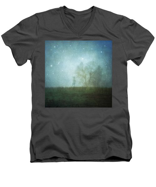 On A Starry Night, A Boy And His Tree Men's V-Neck T-Shirt