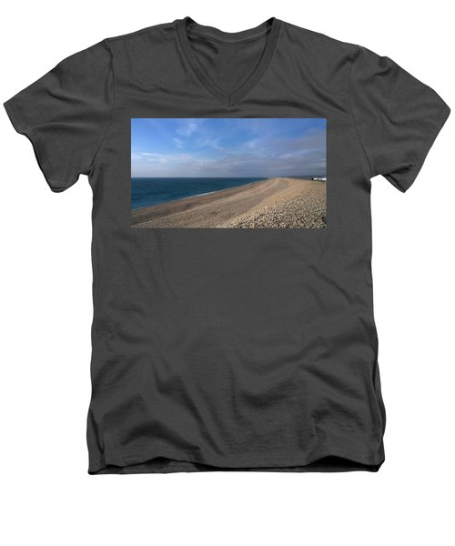Men's V-Neck T-Shirt featuring the photograph On Chesil Beach by Anne Kotan