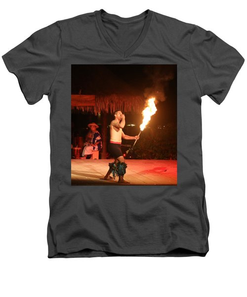 On Fire In Tahiti Men's V-Neck T-Shirt