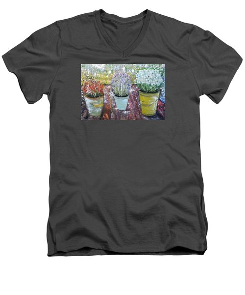 Men's V-Neck T-Shirt featuring the painting On Grandma's Porch by Evelina Popilian