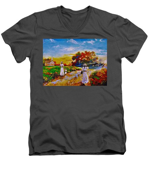 On My Way Home Men's V-Neck T-Shirt by Emery Franklin