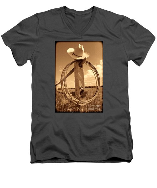 On The American Ranch Men's V-Neck T-Shirt by American West Legend By Olivier Le Queinec