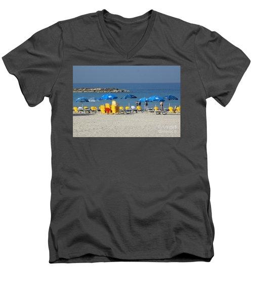 On The Beach-tel Aviv Men's V-Neck T-Shirt