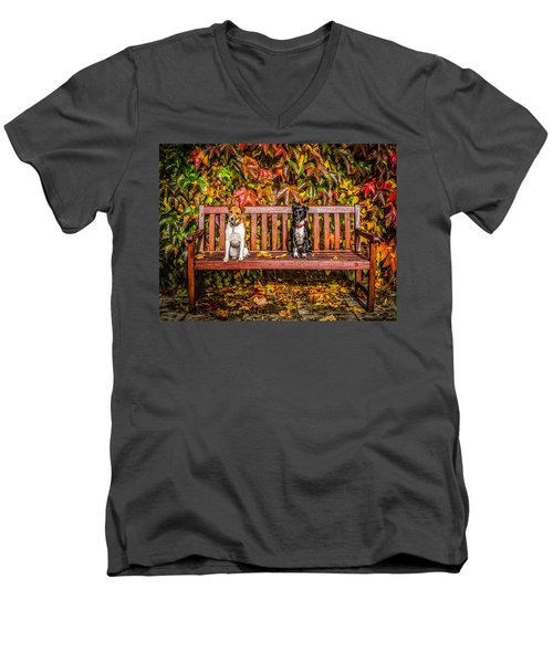 Men's V-Neck T-Shirt featuring the photograph On The Bench by Nick Bywater