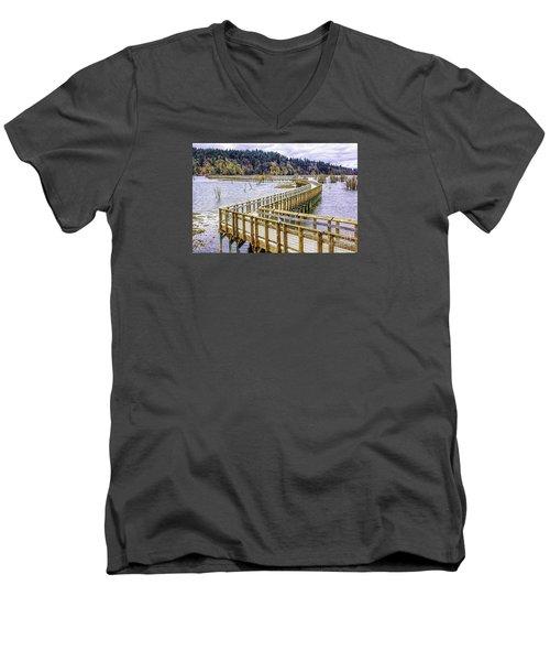 On The Boardwalk  Men's V-Neck T-Shirt by Jean OKeeffe Macro Abundance Art