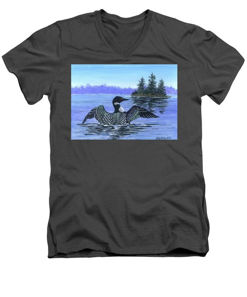 On The Lake Sketch Men's V-Neck T-Shirt