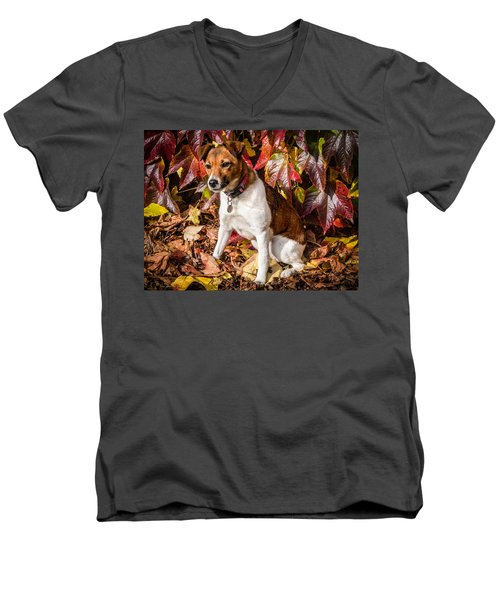 Men's V-Neck T-Shirt featuring the photograph On The Leaves by Nick Bywater