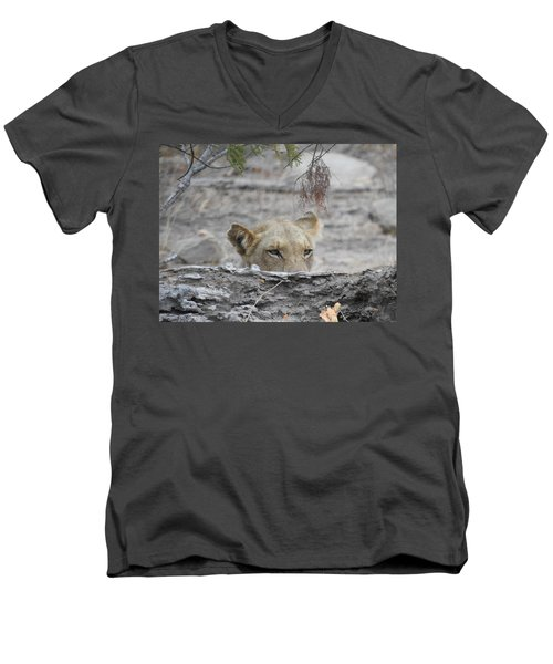 Men's V-Neck T-Shirt featuring the photograph On The Lookout by Betty-Anne McDonald