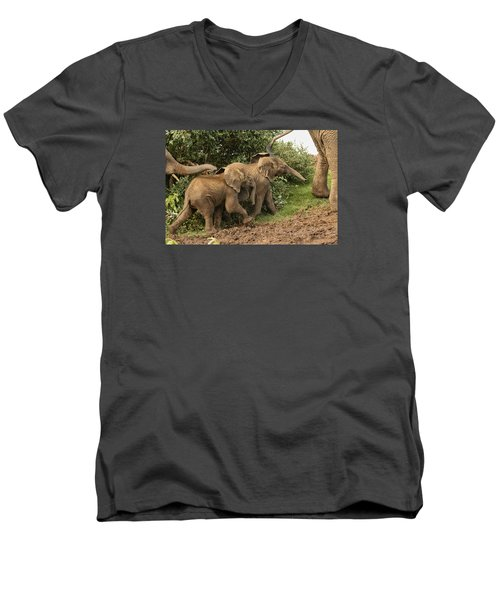 Men's V-Neck T-Shirt featuring the photograph On The March by Gary Hall