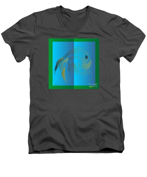 Men's V-Neck T-Shirt featuring the digital art On The Page 2015 by Leo Symon
