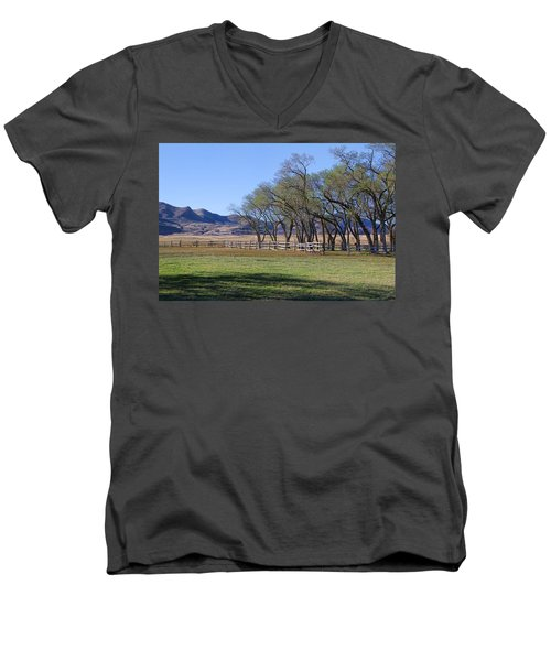 Men's V-Neck T-Shirt featuring the photograph On The Ranch by Ely Arsha