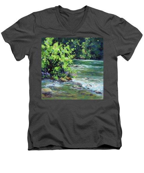 On The River Men's V-Neck T-Shirt by Karen Ilari