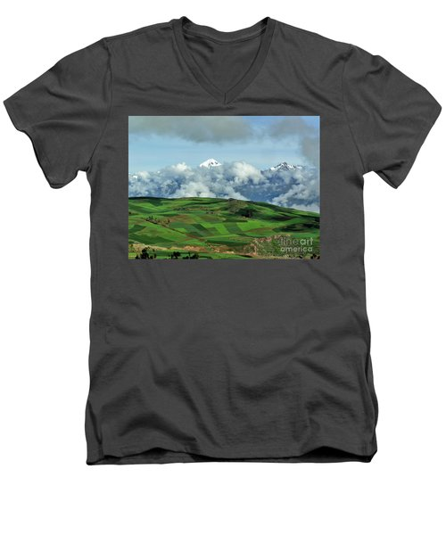 On The Road From Cusco To Urubamba Men's V-Neck T-Shirt by Michele Penner