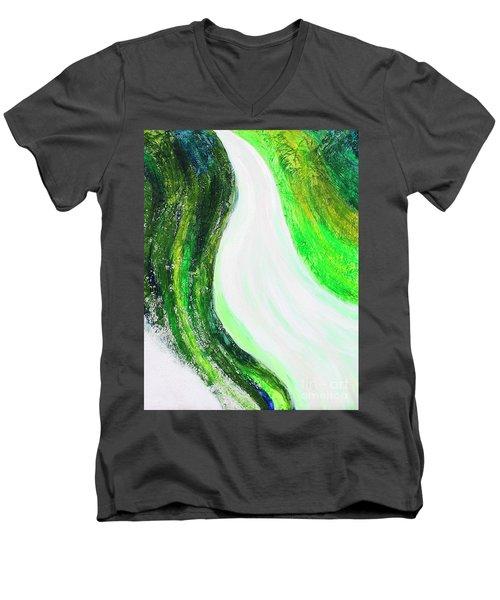 On The Road In Green Men's V-Neck T-Shirt