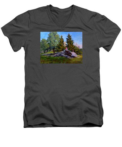 On The Rocks In Central Park Men's V-Neck T-Shirt