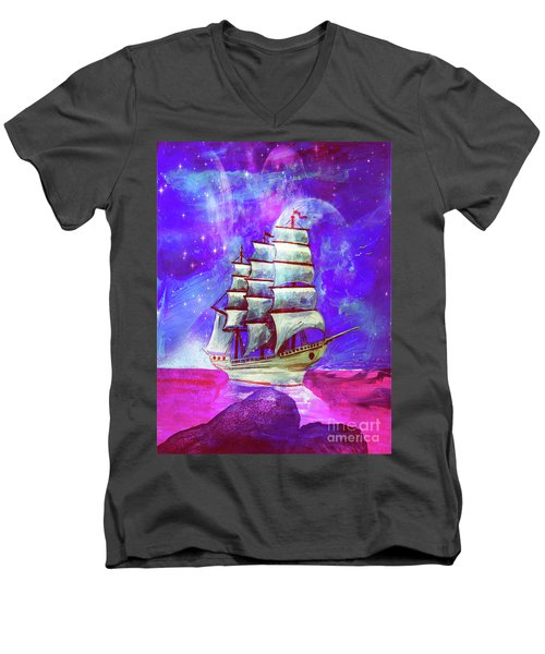 On The Sea At Sunset Men's V-Neck T-Shirt