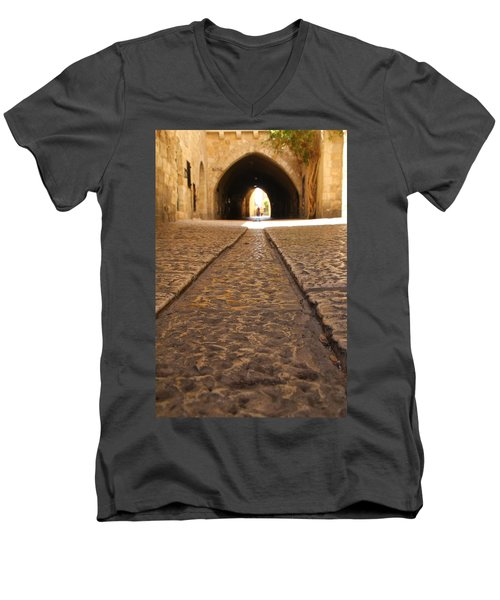 On The Way To The Western Wall - The Kotel - Old City, Jerusalem, Israel Men's V-Neck T-Shirt by Yoel Koskas