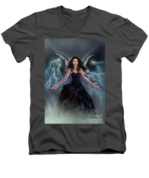 Men's V-Neck T-Shirt featuring the painting On The Wings Of The Storm by Amyla Silverflame