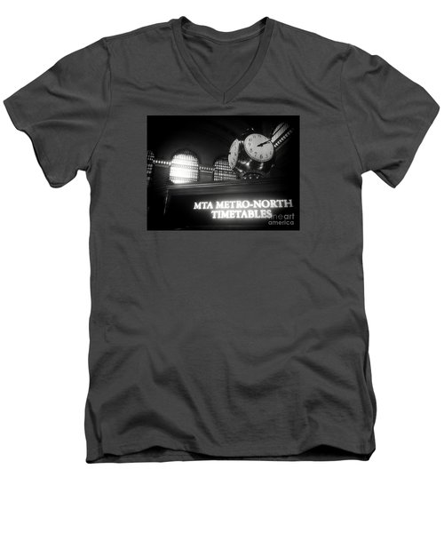 Men's V-Neck T-Shirt featuring the photograph On Time At Grand Central Station by James Aiken