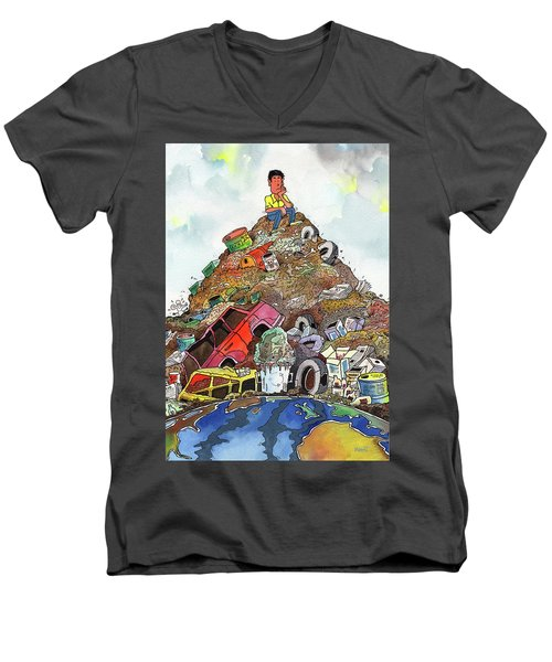 Men's V-Neck T-Shirt featuring the painting On Top Of Things by Anthony Mwangi