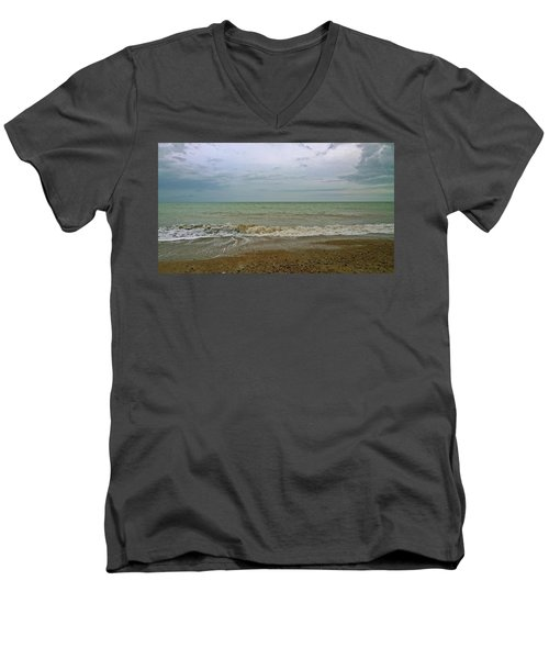 Men's V-Neck T-Shirt featuring the photograph On Weymouth Beach by Anne Kotan