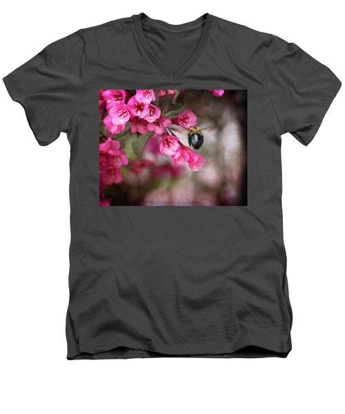 On Wine And Roses Weigela - 2 Men's V-Neck T-Shirt by Debra Martz
