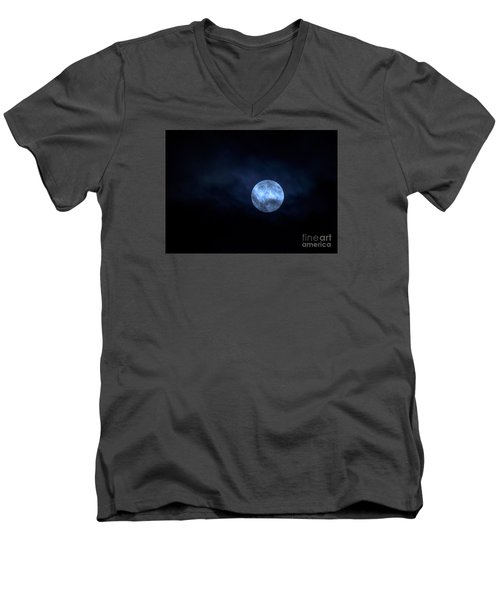 Once In A Blue Moon Men's V-Neck T-Shirt by Sandy Molinaro