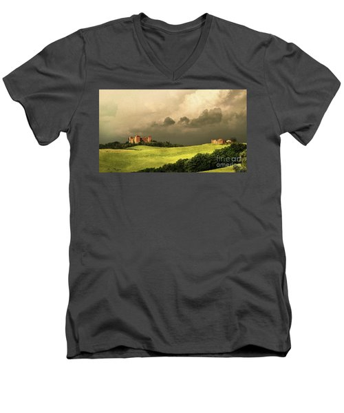 Men's V-Neck T-Shirt featuring the mixed media Once Upon A Time In Tuscany by Rosario Piazza